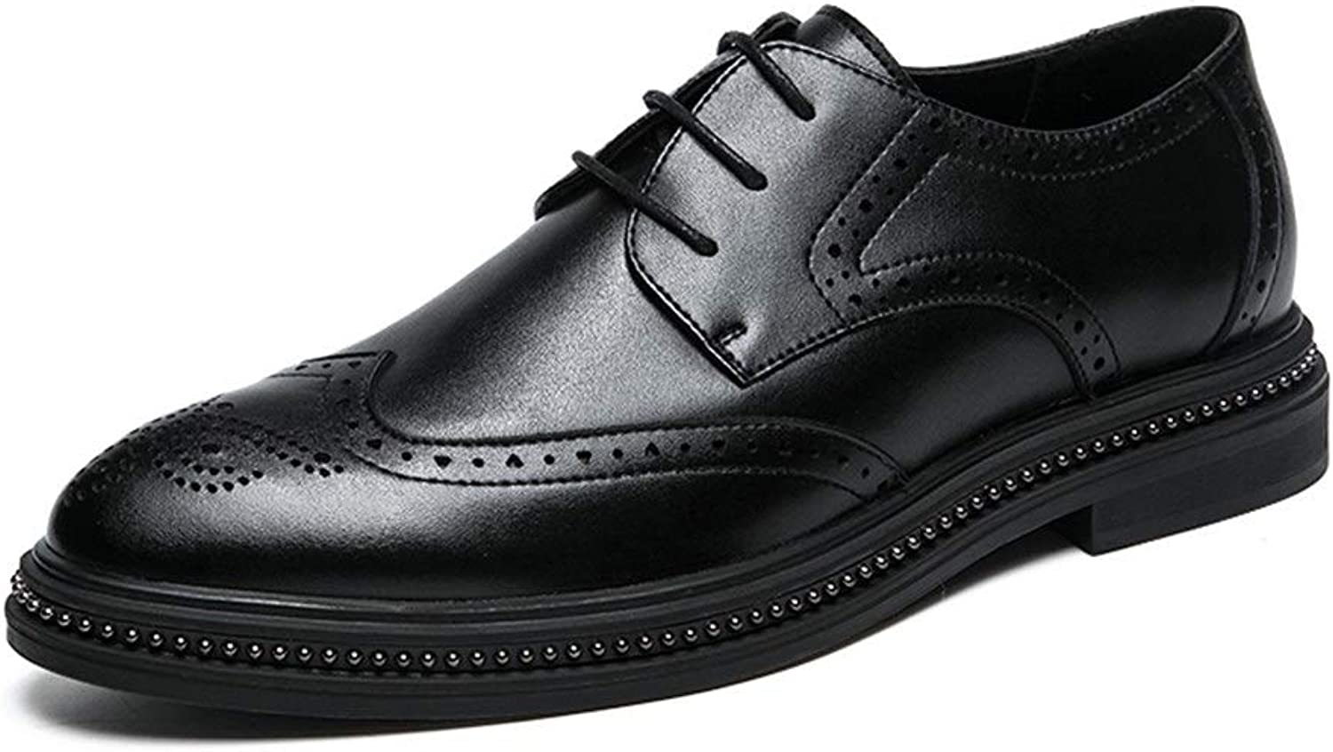 Easy Go Shopping Oxford shoes For Men Brogue shoes Lace Up Microfiber Leather Retro Casual Classic Engraved Cricket shoes (color   Black, Size   8 UK)