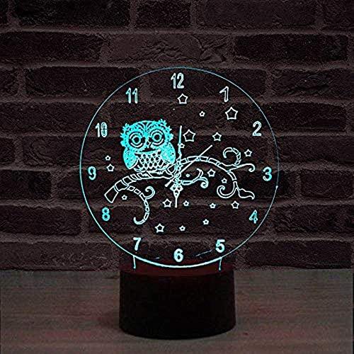 DCLINA Reloj Colorido 3D Luz Noche Interfaz USB Luz Visual Interruptor táctil Luz Arte