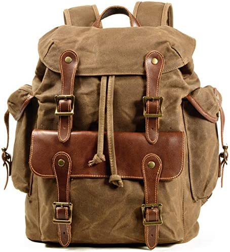 Waxed Canvas Leather Backpack for Men Military Tactical Shoulder Rucksack for Travel School product image
