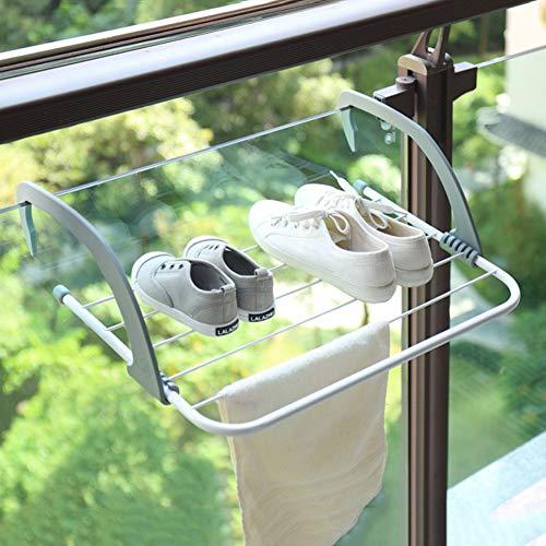 QingH yy Hilo de Tender retráctil Suspensión de Ropa Ventana Balcón Alféizar la Rejilla de Secado de Ropa Que cuelgan Estante Plegable de balcón Secado de la Ropa Zapatero 2-19