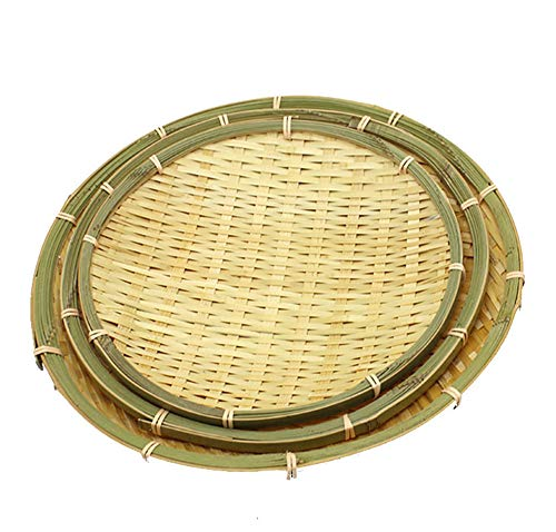 100% Handmade Bamboo Basket Weaving Serving Tray Set of 3 for Bread Food Snack Woven Wicker White Green Bamboo Basket Holder Traditional Decor 8inch 10inch 12inch 14inch 16inch (White, Set of 3)