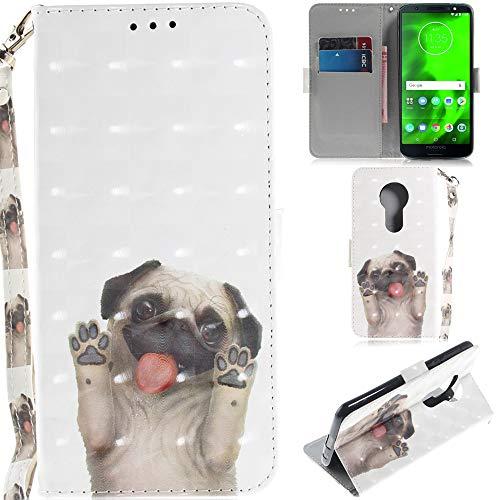 Ooboom Motorola Moto E5/G6 Play Hülle 3D Magnetische Flip PU Leder Schutzhülle Handy Tasche Hülle Cover Ständer mit Kartenfächer Trageschlaufe für Motorola Moto E5/G6 Play - H&