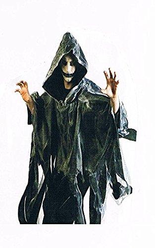 Sachsen Versand Cape-grau-Umhang-Kostüm-Halloween-für-Erwachsene-Maske-Zombi-Leiche-Kürbis-Gruseln-Scream-Blut-OneSize