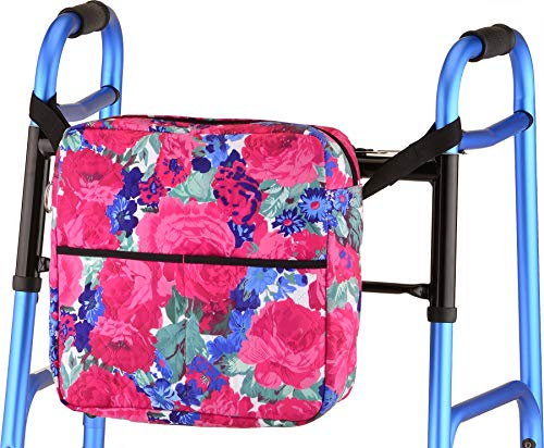 NOVA Medical Products Walker Bag for Folding Walkers, Rollators, Wheelchairs and Scooters, Universal Fit Carry Bag, English Garden, Large