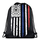 Us Coast Guard Sports Drawstring Backpack Gym Yoga Fitness Bag Casual Outdoor for Women Men 14.2 x 16.9 Inch/36 x 43cm