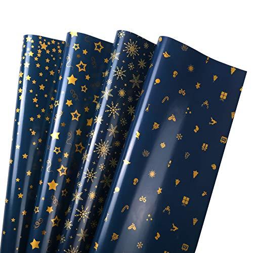 GWHOLE 16 Hojas Navidad Papel para Regalos Papel de Aluminio Embalaje Papel Regalo Serie de Navidad Azul Oscuro Ideal para Envolver Cajas de Regalo, Intercambiar Regalos Embalaje