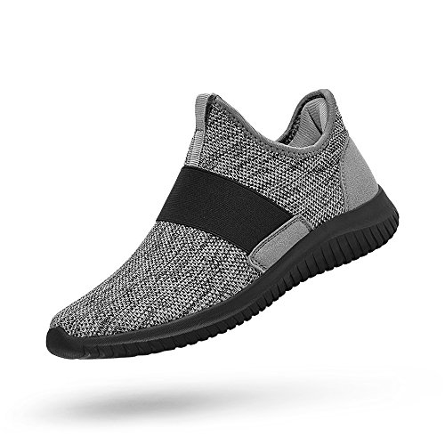 Feetmat Tennis Shoes for Men Slip On Laceless Running Sneakers Knitted Mesh Non Slip Workout Gym Shoes Breathable Gym Shoes Grey 10.5