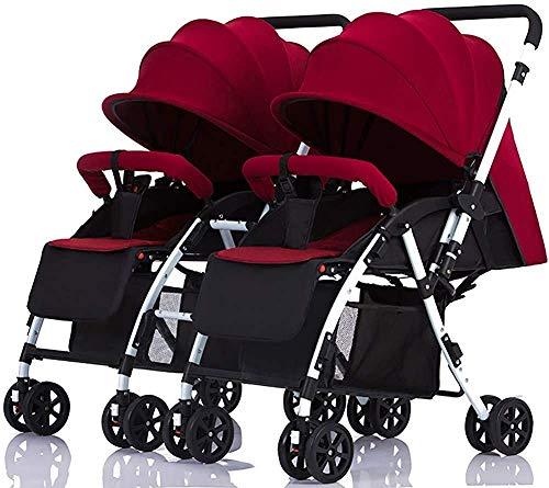 Los cochecitos para bebés gemelos se pueden mover los cochecitos para bebés de dos vías para sentarse y doblar el doble carretón,Red