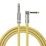 Asmuse Cavo Chitarra 3M Spirale Slient Cavo Jack Basso con 6.35mm TS Mono Jack Premio Rame Placcati Cavi in Tweed per Chitarra Acustica Classica Elettrica Basso a Ampli (10FT)