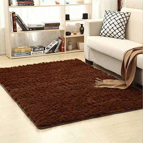 Jnszs Alfombra suave de piel sintética antideslizante para salón, dormitorio, hogar (color: marrón, tamaño: 80 cm x 120 cm)
