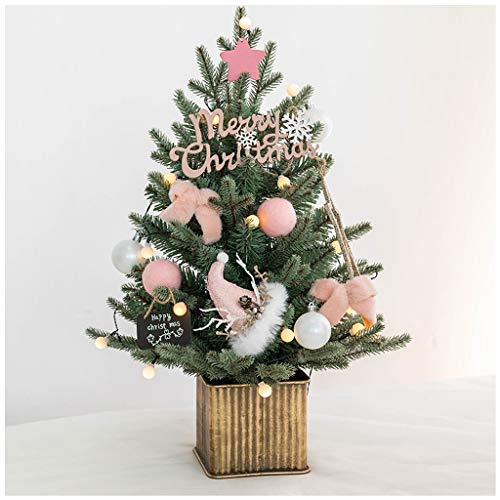 NYKK Christmas Tree Pink Desktop Mini Small Christmas Tree Artificial Fir Tree Indoor Xmas Holiday Decor Girls' Room Decorations 17.7 Inches (Color : B)