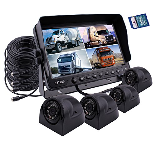 Camnex Car Backup Camera Safety System 9 inch Monitor Build-in DVR Recorder with Quad Split Screen Rear View Camera System Kit for Truck Van Caravan Trailers Camper Bus RV