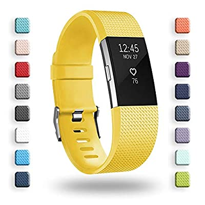 POY Replacement Bands Compatible for Fitbit Charge 2, Classic & Special Edition Adjustable Sport Wristbands (Lemon Yellow, Large)