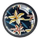 Perillas de tocador Flor Tirador de vidrio para cajón de armario redondo de cristal de cristal Tiradores para cocina, 4 piezas