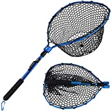 Sougayilang Fishing Net Aluminum Foldable Landing Net with Soft Rubber Mesh EVA Handle Release Net for Fly, Trout, Salmon, Bass, Kayak Fishing
