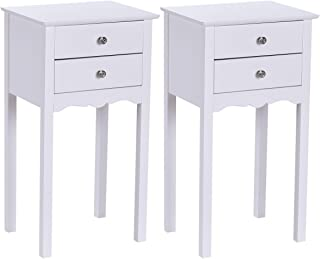 Giantex 2 Pcs End Table w/ 2 Drawers Side Table Nightstand Multi-Purpose Accent Table Living Room Bedroom Home Furniture (2, White)