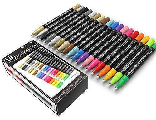 アクリル ペイント ペン18色18本セット0.7mm極細 ロックペインティング、ガラス、マグカップ、磁器、木材、...