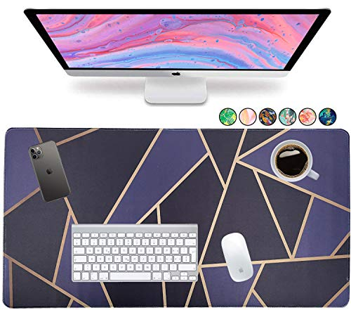 """French Koko Large Mouse Pad, Desk Mat, Keyboard Pad, Desktop Home Office School Cute Decor Big Extended Laptop Protector Computer Accessories Pretty Mousepad Women Girls XL 31""""x15"""" (Classic Chic Dark)"""