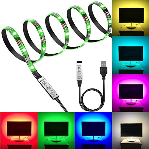 5V RGB LED Strip 30 leds Flexible 5050 RGB USB LED Strip Light with 5v USB Cable and Mini Controller for TV/PC/Laptop Background Lighting