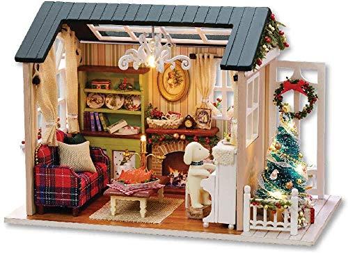 YUACY Puppen Haus Kit,DIY Holzhaus Mini-Puppe Haus Kit Fotorealistische 3D Mini-Zimmer Handwerk Mit MöBeln Led Licht Kindertag Geburtstag Geschenke Weihnachten Dekoration