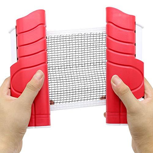 Fortitude Sports - Retino da ping pong portatile, retrattile, colore: rosso e bianco