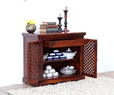 Shilpi Pure Sheesham Wood Net Design Brass Work Crockery Storage Cabinet/Living Room Cabinet