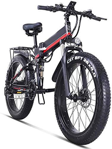 Alta velocidad 21 Velocidades Frenos crucero de la playa for hombre de los deportes de montaña bici de la batería de litio de disco hidráulicos Montaña bicicleta eléctrica 48v 1000w de 26 pulgadas Fat