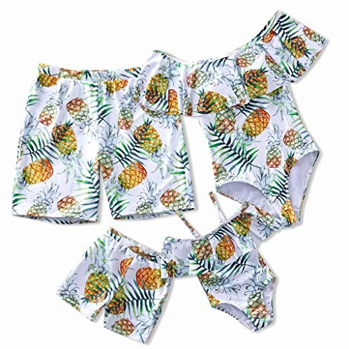 IFFEI Mommy and Me Swimsuit One Piece Pineapple Printed Family Matching Swimwear Girls: 8-9 Years