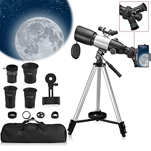 TELAM Telescopio Astronomico Zoom,Telescopio Terrestre per Bambini focale 700 mm telescopi Completamente Multistrato, rifrattore astronomico con treppiede, Adattatore per Telefono, Zaino