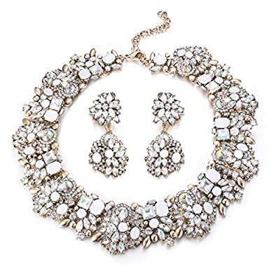 Udalyn Statement Necklace for Women Earrings and Necklace Set Rhinestone Vintage Fashion Costume Jewelry