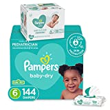Diapers Size 6, 144 Count and Baby Wipes - Pampers Baby Dry Disposable Baby Diapers, ONE MONTH SUPPLY with Baby Wipes Sensitive 6X Pop-Top Packs, 336 Count (Packaging May Vary)