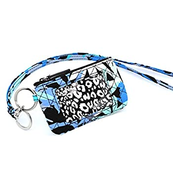 Zip ID Case with Lanyard for id case Wallet id Badge Holders  Blue-39