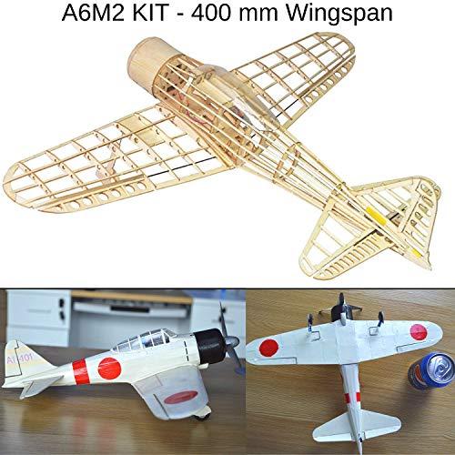 Mitsubishi A6M2 Zero Fighter Slow Flyer KIT, 400 mm Spannweite, Maßstab 1/30, Modellflugzeug zum selber Bauen, Balsa Holz Bausatz, RC Modell Baukasten, 303 x 400 x 108 mm groß, 48,1 g Fluggewicht