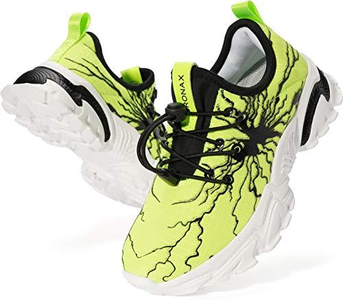 BRONAX Sportschuhe Jungen Hallenschuhe Turnschuhe rutschfest Laufschuhe Kinder Schuhe Fitnessschuhe Kinderschuhe Halbschuhe Schuhe Grün 30 EU(31 Asien)
