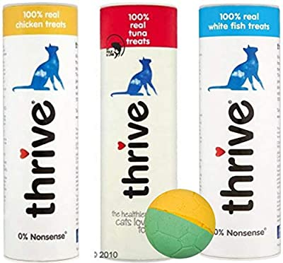 thrive 100% Real Cat Treats - Pack of 3 (Tuna and Chicken and White Fish) and free toy ball