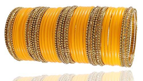 NMII Beautiful and Glossy Plain Yellow Glass Bangles Set Stu