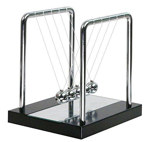 Pendule de Newton - Socle en bois avec Miroir PENDULE BALANCIER DE NEWTON Crèche Cradle(CADEAU, NOEL, GEEK, DECO) Bureau Maison Ecole Chambre d'enfant Newtons Cradle Balance Berceau Boules (S)