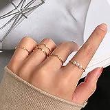 Missgrace 5 PCS Gold Simple Dainty Bohemian Open Pearls Knuckle Stacking Rings Boho Vintage Geometric Midi Finger Rings Set or Women Teen Girls (Style 2)