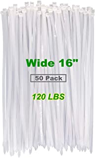 Industrial Outdoor White Clear Color 16 Inch Cable Ties, Heavy Duty Durable 120 LBS UV Resistant Zip Ties,Festival Decorat...