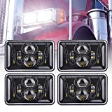 Z-OFFROAD 4pcs 60W Rectangular 4x6 Led Headlights Dot Approved H4656 H4651 H4652 H4666 H6545 Headlight Replacement for Freightliner Peterbilt Kenworth Oldsmobile Cutlass Trucks - Black