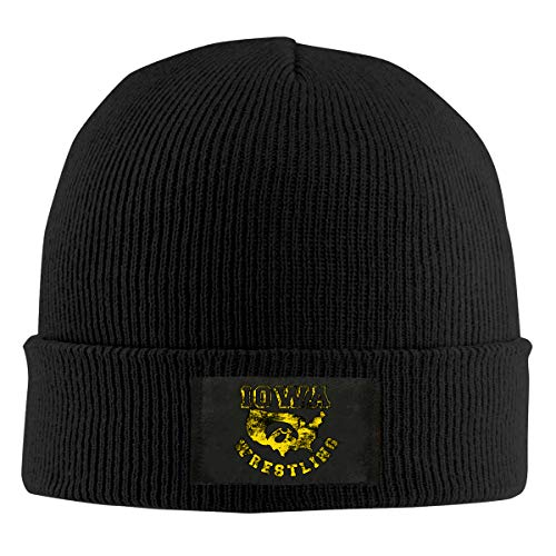 merahans Iowa USA Wrestling Unisex Beanie Cap Cute Skull Cap Winter Cap Black