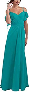 Botong Spaghetti Straps Bridesmaid Dress with Shoulder Ruffles Chiffon Prom Dress Long