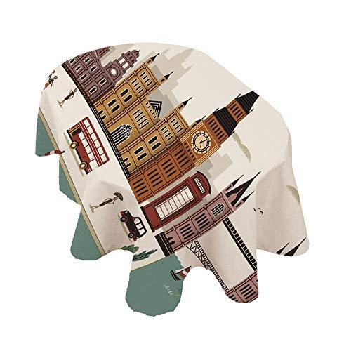 Angel Bags Mantel ovalado de Londres, diseño de paisaje de viaje, famoso de Inglaterra, Big Ben, cabina telefónica Westminster, poliéster, 152 x 251 cm, para primavera/verano/fiesta/picnic, multicolor