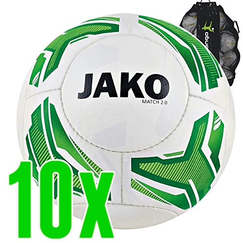 Sarango Sport Jako Lightball Match 2.0 Trainingsball Kinder 10er Ballpaket inkl. Ballsack, Wähle Größe und Gewicht:Gr. 5 (ca. 290 g)