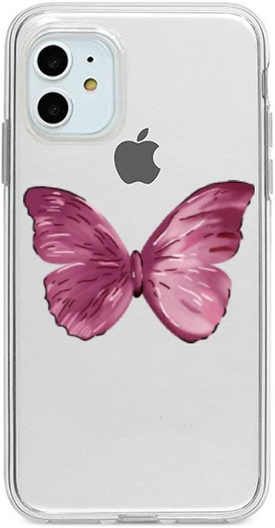 iPhone SE/7/8 Case Pink Cute Butterfly Design Flexible Bumper TPU Soft Rubber Silicone Girl Cover for iPhone SE/7/8 -Pink Big Butterfly