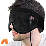 Creatrill X-Large Heated Eye/Sinus Mask, USB Heating Compress Pad for Dry Tired Puffy Eyes, Dark Circle, Migraines Headache, Blepharitis, Sties, Sinus Pain Pressure Relief Hot Therapy (Black)