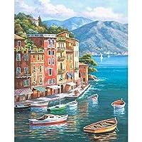 大人のための数字によるキャンバス絵画子供海辺の町の風景写真家の壁の装飾ギフト-40x60cmフレームなし