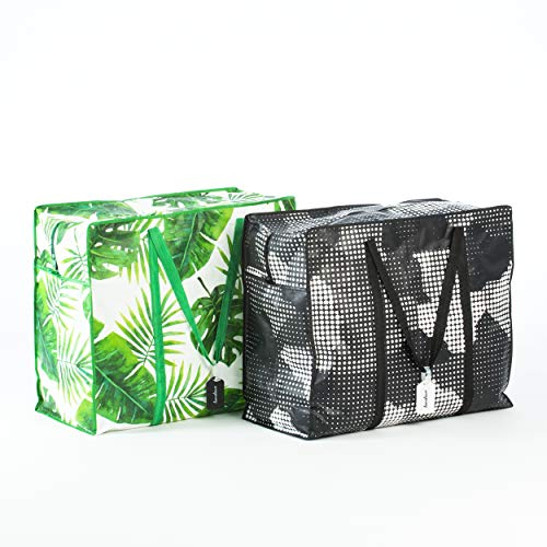 Homeleave Extra Large Oversized Heavy Duty Zippered Laundry Bags – For Shopping Storage Moving and More – Made From Ultra Durable Woven Plastic – Reusable Big Portable Tote Bag With Handles and Zipper