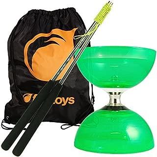 Cyclone Quartz Diabolo Set (Green) - Triple Bearing Clutch Diablo - Juggle Dream Metal Hand Sticks & Firetoys Bag