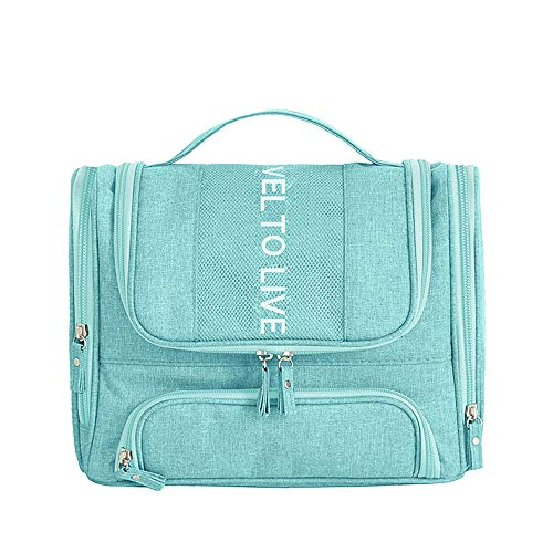 Hangable Storage Bag Women's Cosmetic Bag Waterproof Wash Bag Dry And Wet Separation Handbag for Hanging in The Bathroom And Storing Cosmetics,Tiff blue